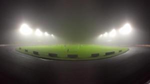 Floodlights light a foggy Shielfield Park. Image courtesy of Rod Perryman